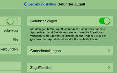 «Geführter Zugriff» bei iOS