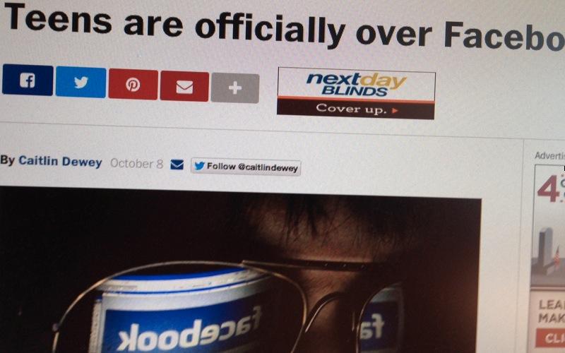 Symbolbild zum Beitrag bezüglich der geringeren Beteiligung von Teenagern an Facebook
