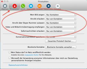 Privatsphäreeinstellungen Skype