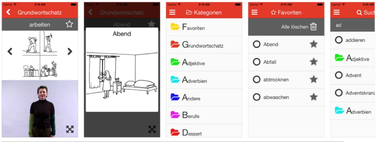 Screenshots die den Aufbau der App zeigen